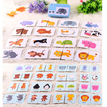 Educational Learning Cards Puzzle Toy in Tin Case 32pcs Baby Puzzle Toy Vehicle/Fruit/Animal/Life Cards Set Enlighten Puzzle Box(China)
