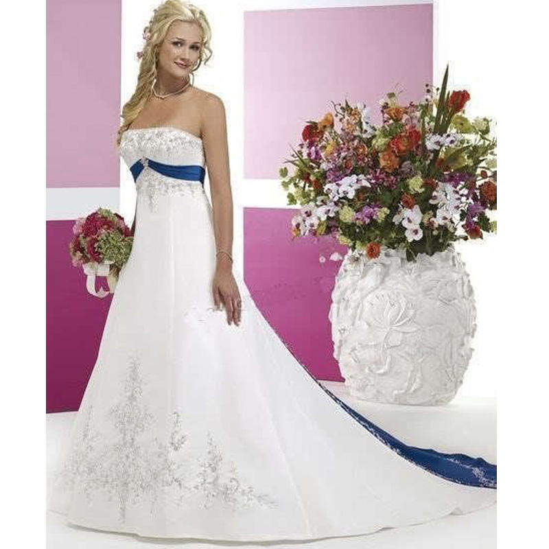 High Quality Wholesale white blue wedding dress from China white ...