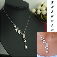 Fashion Vintage  Little Cymbidium  imitation pearl Drop Short Chain Necklaces Clavicle Women Jewelry  B6xr Jewellery