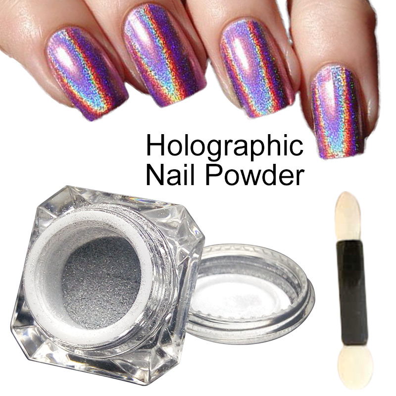 1g/Box 3D Shiny Glitter Silver Pigments Holographic Laser Powder for Nail Art Gel Polish Rainbow Chrome Shimmer Dust(China (Mainland))