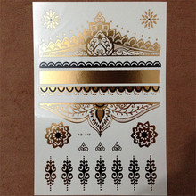1PC Hot Flash Metallic Waterproof Temporary Tattoo Gold Silver Men Women Henna Lace Hearts Royal Design Tattoo Sticker(China)