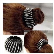 Shrinkable Hairpin  New Womens Hair Accessories Bud Hair Clip Nest Shape Hair Ties Ponytail Holder Black Color