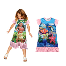 ruffles design baby girls dress summer cartoon finding dory Moana cotton fabric girls sleepwear for 4-10 years old