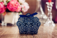 Dark Navy Blue Color Hollow Flowers wedding candy box  Cuboid Card Paper Favor Boxes