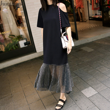 Jungle me Chiffon Patchwork Mermaid Dress Personality Strapless Design Women Dresses Chic Slim Black Female Dress