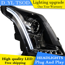 D_YL Car Styling for Cadillac SRX Headlights 2011-2014 SRX LED Headlight DRL Lens Double Beam H7 HID Xenon bi xenon lens(China)
