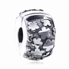 925 Sterling Silver Charm Plum Flower Clip Stopper Beads Charms Fit Pandora Original Bracelet & Necklace Jewelry For Women(China)