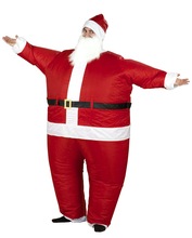 Adult Holiday Christmas Santa Claus Inflatable Chub Suit Costume W Beard and Hat