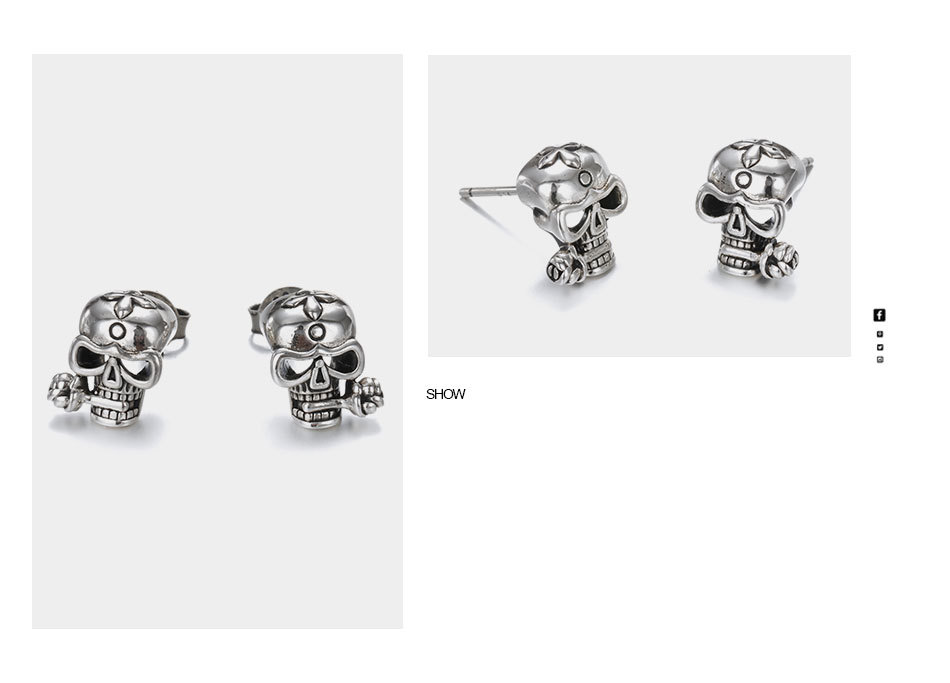925-Sterling-Silver-Stud-Skull-Earrings-Vintage-Silver-Party-Unisex-Prevent-Allergy-Flower-Earrings-Say-You-T10