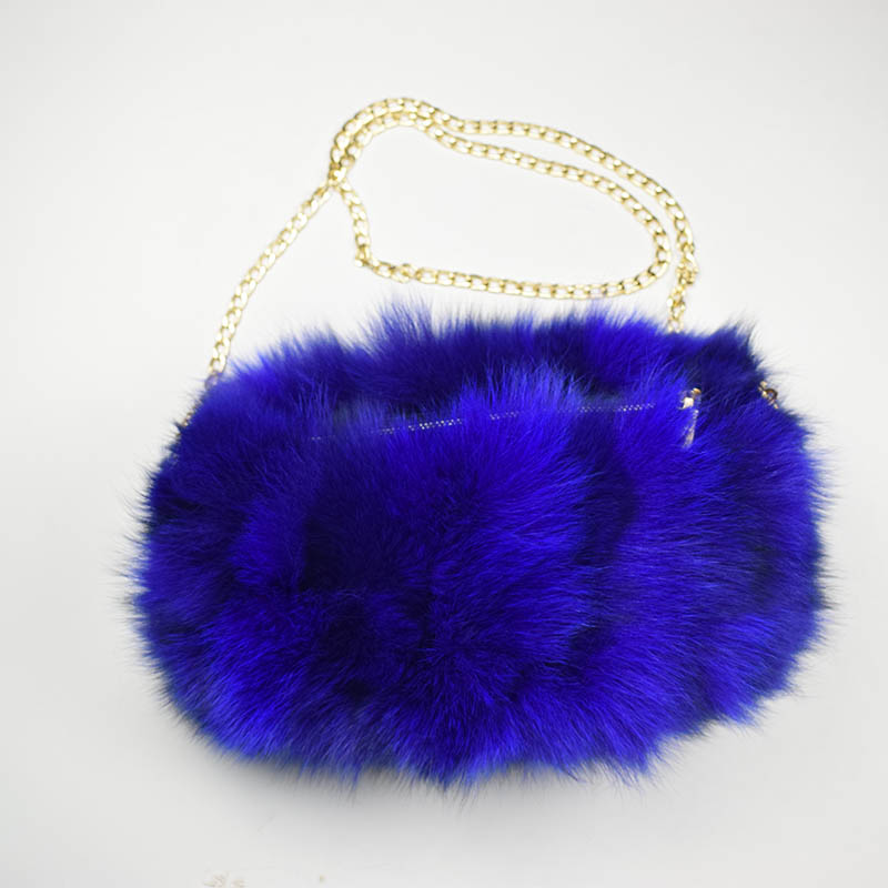 fox fur handmuff royal blue
