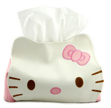 Hello Kitty PU Leather Tissue Cover/Tissue Box/Table Decoration Tissue Pumping Napkin Holder
