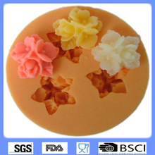 DIY Cake Decorating Three Golden Flower Shaped Fondant Sugar Art Tools DIY Cake Decorating Tools 3D Silicone Molded 9324