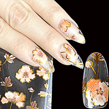 Pink Blue Orange Flowers Pattern Nail Art Transfer Foils Nail Adhesive Sticker Decal Tip Decoration Glue DIY Manicure Tools