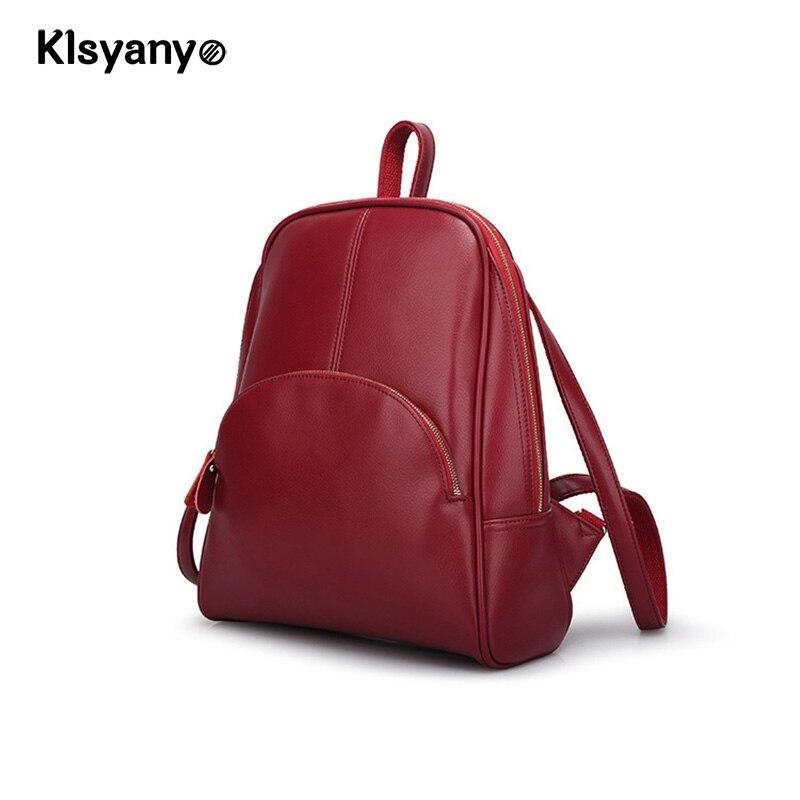 Klsyanyo Cow Genuine Leather Women Backpack Zipper School Bags for Teenagers Girls Female Shoulder Bag Mochila Feminina <br>