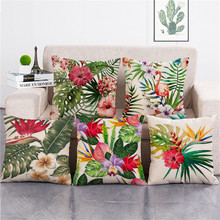 KYYZROZZZ Fashioni Home Textile Green Leaves Red Flower Cushion Cover For Sofa Home Decor Capa De Almofadas 45x45cm
