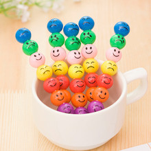 4set 7Colors Cartoon expression smiling face Pop up Crayons Stacker Pencils Drawing Crayon Graffiti Pen Gift for Children Kids