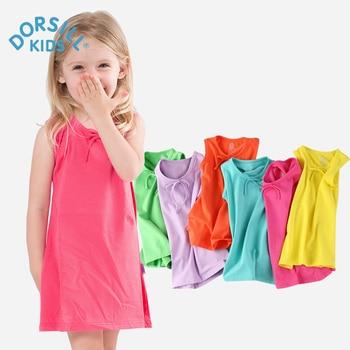Fille Robe 2017 New Summer Mignon Cool Kids Vêtements Sans Manches A-ligne Coton Bébé Fille Robe pour 12 M-4 T Partie Robe