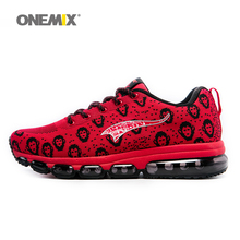 ONEMIX 2017 Man Running Shoes Men Nice Run Athletic Trainers Monkey Red Black Sports Shoe Max Cushion Outdoor Walking Sneakers