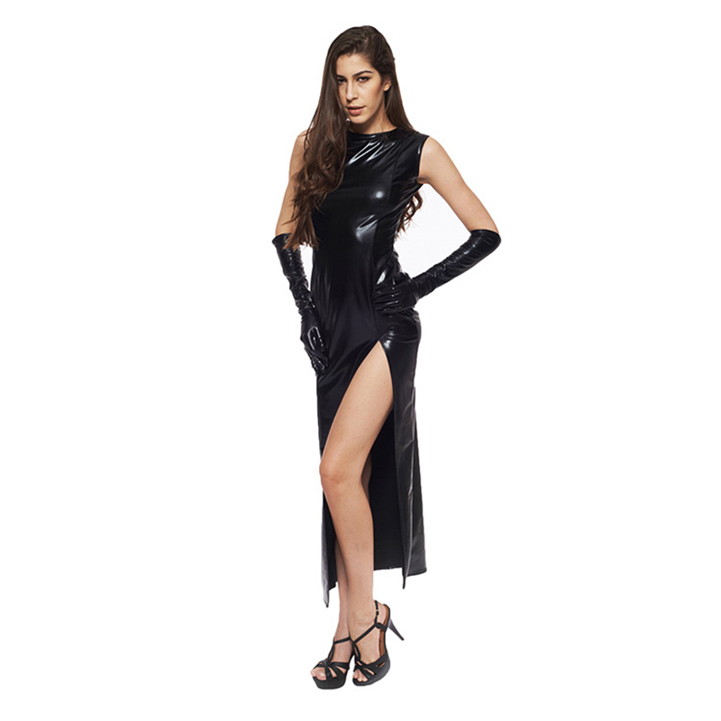 Sexy Fetish Black Vinyl Leather Bodysuit Lingerie Dress Erotic Bondage Latex Long PU Dress and Gloves Clubwea 7