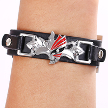 Hot Bleach Leather Bracelet Wrist Belt with Face Metal Sign Black Bangle Charms Wrist Band Men Women jewelry HSIC10130