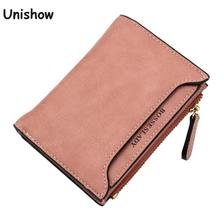 Soild matte pu leather women wallet small printing letter female purse zipper coin wallet multifunction women card holders(China)