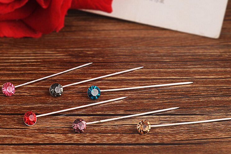 Women's fashion glitter Hijab pins brooches accessory multicolor muslim hijab pins 24pcs/lot mix color order