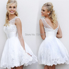 New 2015 white short wedding dresses the brides sexy lace wedding dress bridal gown plus size ivory vestido de noiva real sample