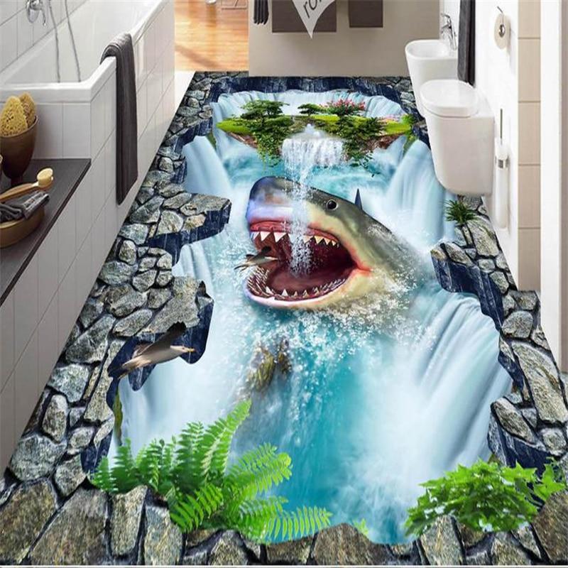 Decorative floor painting Custom 3dcustom 3d flooring self adhesive wallpaper Shark Falls 3d floor tiles kitchen waterproof<br><br>Aliexpress