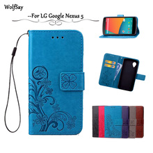 Wolfsay For case LG Nexus 5 Cover Flip Leather Wallet Case For LG Nexus 5 Case For LG Nexus 5 E980 D821 Silicone Card Holder [<