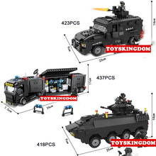 Hot city super police Explosion-proof Armored car Command vehicle building block model swat figures bricks toys for boys gifts(China)