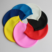 Quality Silicone rubber swimming cap Adult men women waterproof swim caps Solid color hat swimming accessories(China)