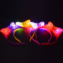 2017 Woman LED Butterfly Light-Up Wedding Hen Party Headband Flashing Blinking Head Band  Hair Accessories Glow Rave Party