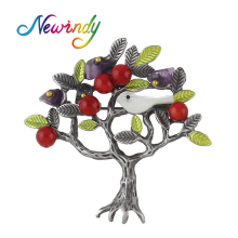 Newindy Vintage Style Fashion Jewelry Antique Silver Color With Simulated-pearl Green Enamel Bird Tree Shape Brooch For Women(China)