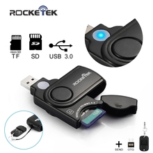 Rocketek USB 3.0 Memory Card Reader for SD Card,TF, micro SD Cards and OTG phone usb card reader adapter sdxc sdhc free shipping(China)