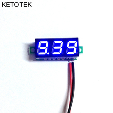"Free shipping 1PCS New 0.28"" Super Mini Digital Blue LED Display Voltmeter DC 3.5-30V Volt Voltage Panel Meter battery monitor(China)"