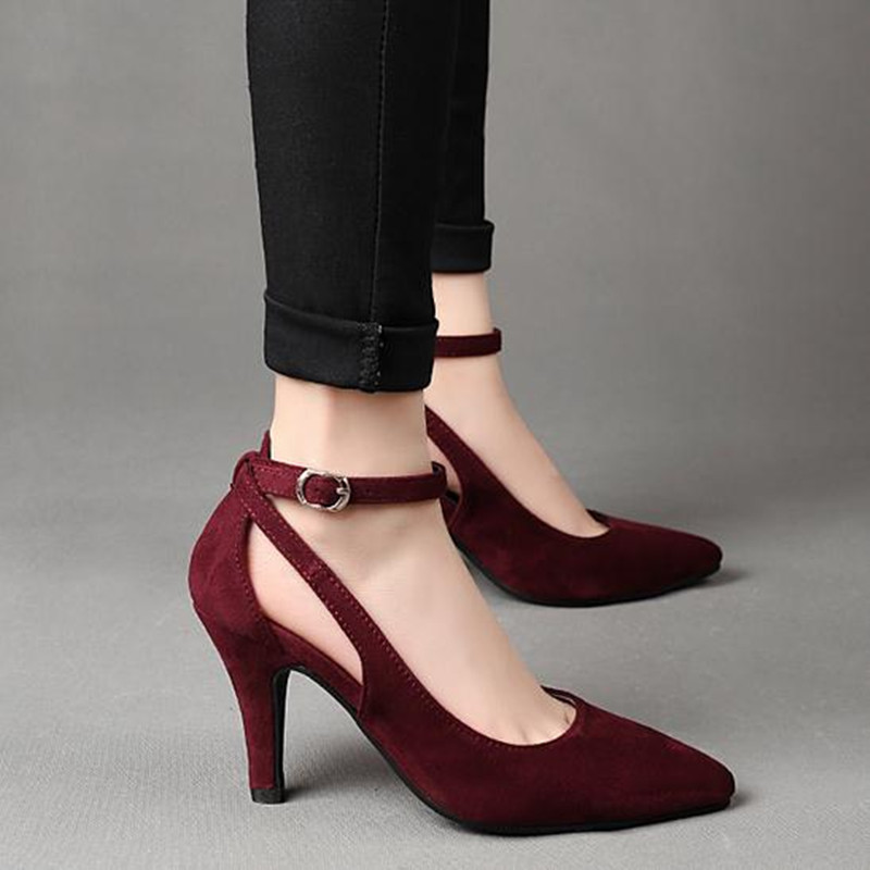 New Arrive fashion sexy Large size high heels Wine red, black spring Women Shoes ankle strap Suede Heels pumps obuv Schuhe<br><br>Aliexpress