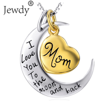 I Love You To the Moon and Back Silver Necklace Mom Dad Daughter Son Grandma Grandpa Family Choker Pendant Necklace men Men(China)