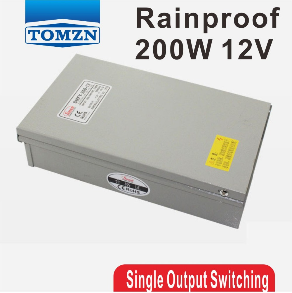 200W 12V 16.7A Rainproof outdoor Single Output Switching power supply smps AC TO DC for LED<br>