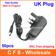 50pcs AC Adapter DC 12V 1A / 9V 1A / 5V 2A Power Supply with IC version UK Plug Free shipping High Quality(China)