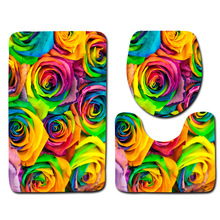 Bathroom Mat Set 3pcs Colored Flower Pattern Bath Mat Non Slip Europe Style Bathroom Rugs Soft Foam Toilet Mat(China)