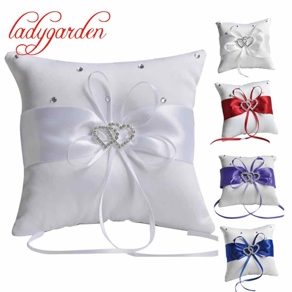 New Style 20*20cm Wedding Ring Pillow Ribbon Bowknot Cover Rhinestones Double Heart Home Bed Sofa Decorative Pillows Blue