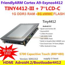 FriendlyARM Quad core Cortex A9 Standard TINY4412 III SDK1312 + S702 Capacitive touch 1G RAM 8G eMMC Development Board Android 4