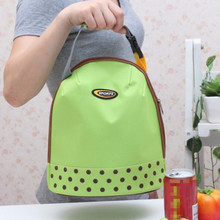 Portable Bento Pouch Lunch Bag Container Thermal Insulated Cooler Dining Travel Tote Picnic Bag Green Dot Storage Bag