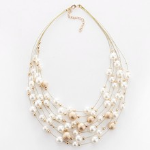 2017 New Fashion Jewelry Gold Color Multilayer Chain Imitation Pearls Necklaces For Women Wedding Bride Necklace