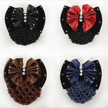 wholesale 50pcs/lot lady Occupation Hotel airline stewardess flower head hair mobile banking nurses special bow hair net(China)