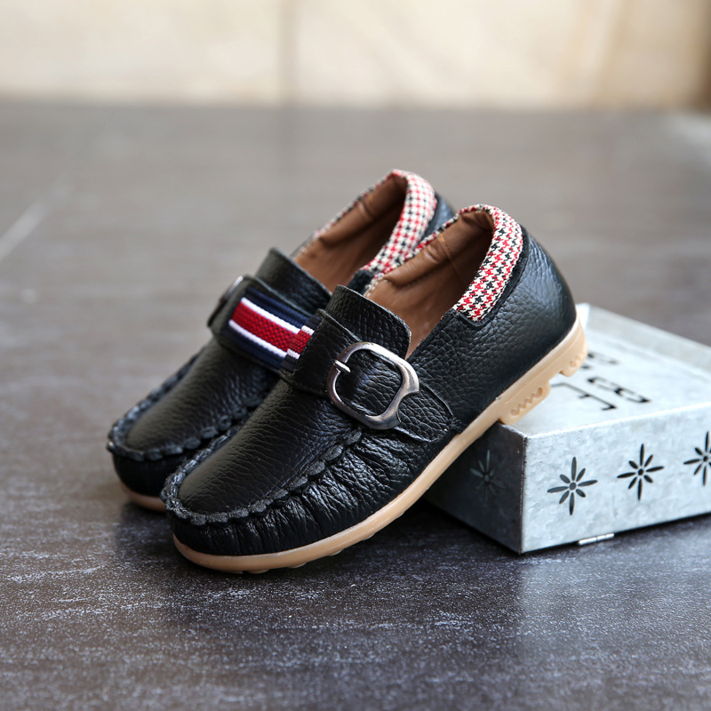 2017 Spring New Brand Childrens Leather Shoes For Boys Leather Gentleman Shoes Fashion White Black Brown Non Slip Vintage Flats<br>