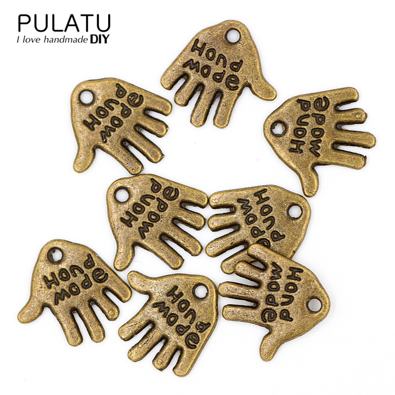 100PCS Handmade Tag Signs DIY Jewelry HAND MADE Ancient Bronze Plate Connectors