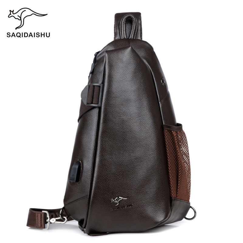 SAQIDAISHU 018 Men Messenger Designer PU Leather Small Chest Bag Men&amp;Female Sling Messenger bag Fashion Travel  Bag USB charging<br>