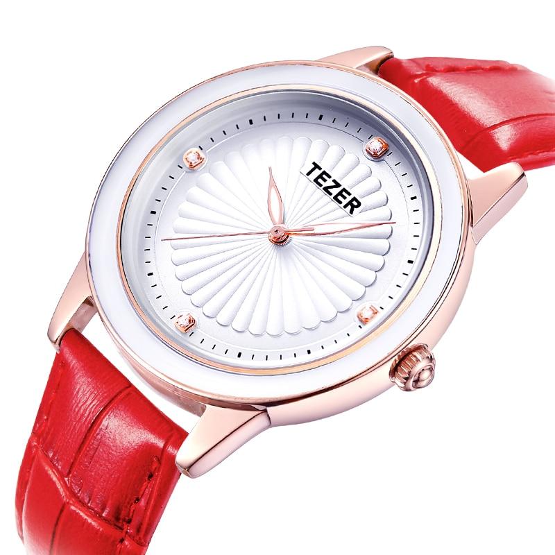 TEZER Relojes Mujer 2017 Fashion Watch Women Leather Strap Quartz Watch Relogio Feminino Brand Women Dress Watch Clock C71<br><br>Aliexpress