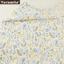 Teramila Fabric Soft Printed Blue Plants With Animals Designs 100% Cotton Material Bed Sheet DIY Bedding Sewing Curtains Dress(China)